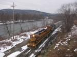 BPRR 3001, GNWR 45, and BPRR 6673 lead a train back into the Warren Yard