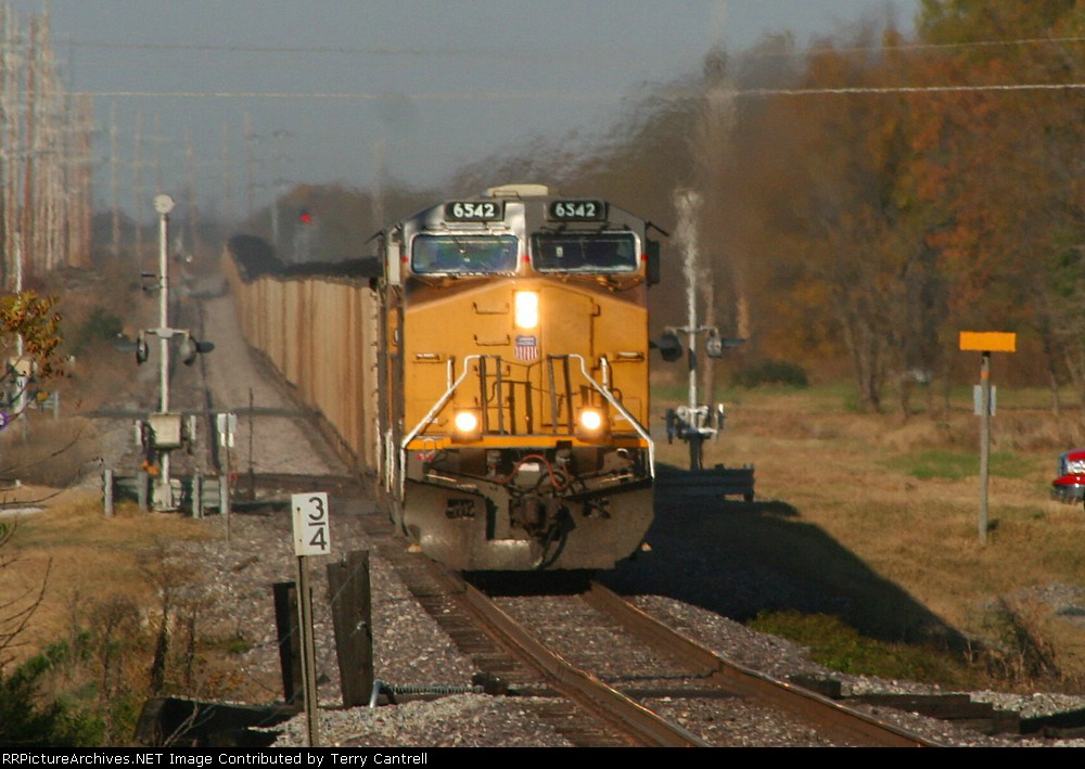 UP 6542 headed south with loaded coal train