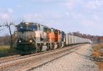 BNSF 9830 empty TXUX coal train ready to meet KCS 4054