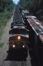 BNSF 5472 East passes the westbound Sioux City local at