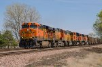 BNSF 6096, GE ES44AC, westbound empties with a 6-unit power move at