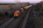 BNSF 7796 - 5824, GE ES44s, are westbound with coal empties at last light