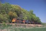 BNSF 8269 SD75M leads eastbound coal loads
