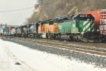 Eastbound stack train with interesting power passes Hoffman