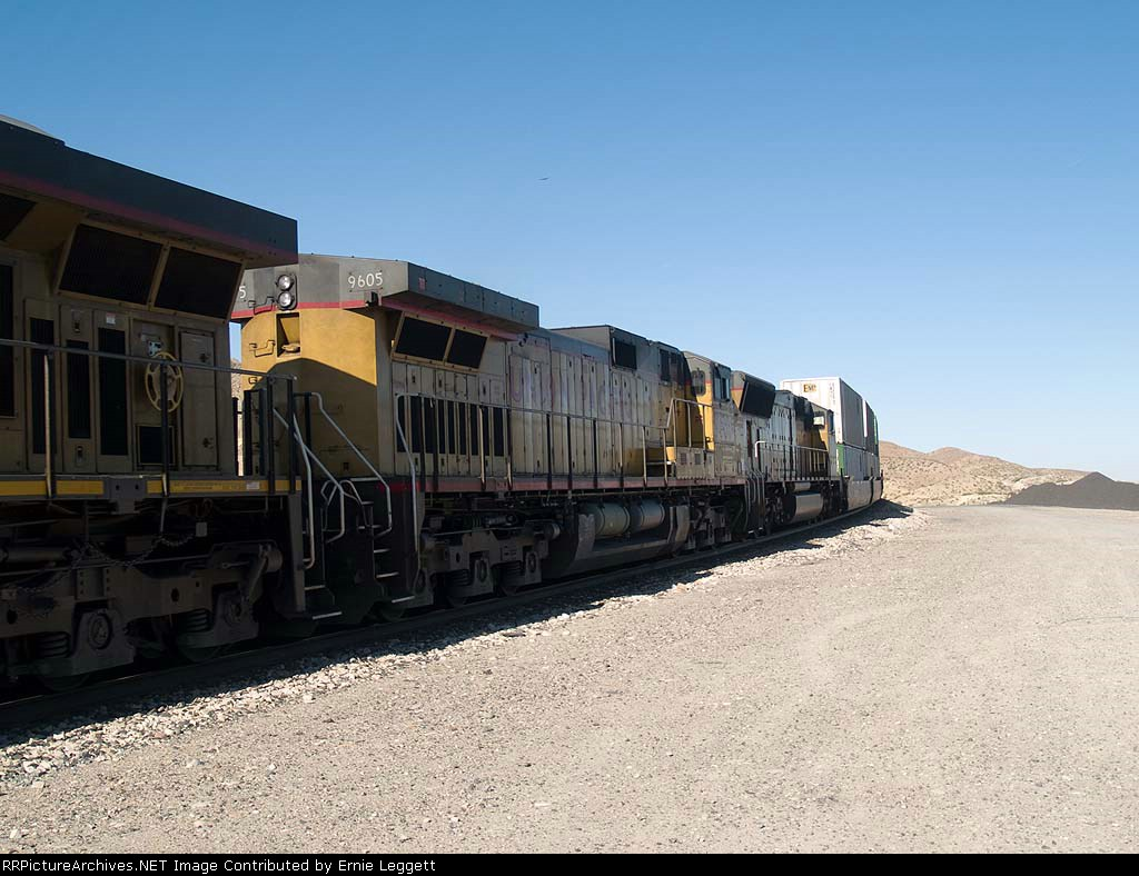 UP 9605 #2 power in leads an EB doublestack Z-train at 9:19am