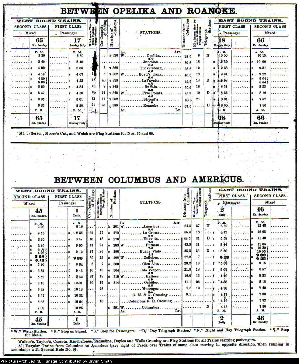 Central RR of GA employee timetable for the Savannah and Western division dated October 23, 1892