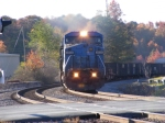 NS 8458 leads a mixed goods train off the Chattanooga Division