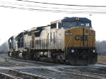 CSX 7315 shoves two GeeP's into the yard