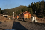 BNSF westbound grain train working the grade