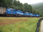 Norfolk Southern all blue at Horseshoe Curve