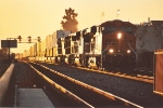 Eastbound stack train at sunset