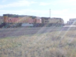 UP 6633 and BNSF 9483 head east in the bright morning sun
