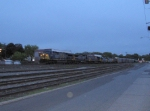 CSX 605 leads five other diesels at the point of a NB freight