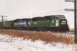 Westbound grain train parked