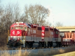 R.J. Corman 3802/3801 with the Aluminum Train at Memphis Junction yard 12/22/2008
