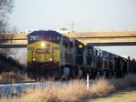 CSX Q525 with 10 Locomotives moves south to clear the switch 1/2/2009