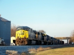 CSX 470 is the leader on a string of 10 CSX Locomotives on Q525 1/2/2009