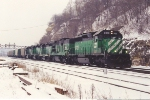 Eastbound grain train eases past Hoffman