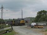 EB Coal Train crossing a boat landing area along the James River