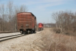 IORY 4034 drops a boxcar on one of the Lancaster industrial park leads before pulling the warehouse on the other lead