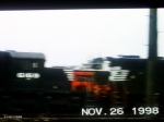 NS loco's, snowplow in the background