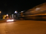 A blurred CSX Q197 coming into town