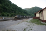 NS 8977 wb through Matewan as evening closes in
