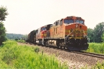 Eastbound grain train climbs up to a new track