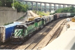 Eastbound grain train encounters the Narrows