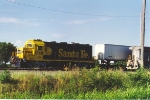 Switching intermodal cars at the east enf of the yard