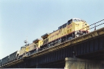 Coal train passes over Santa Fe Jct on upper level