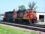 Old Canadian National Power in Old Paint and Old Illinois Central Power in New Paint