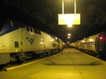 The Capitol Limited stops on the left, as the Pennsylvanian waits at right for morning