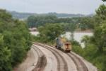 CSX 904149 leads GP 15 1553 west along the Ohio River