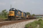 CSX 6920 with ribbon rail train at Center Street