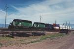 Eastbound stack train nears Interstate