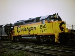 Newly painted B&O Gp 40 in Miami St yd