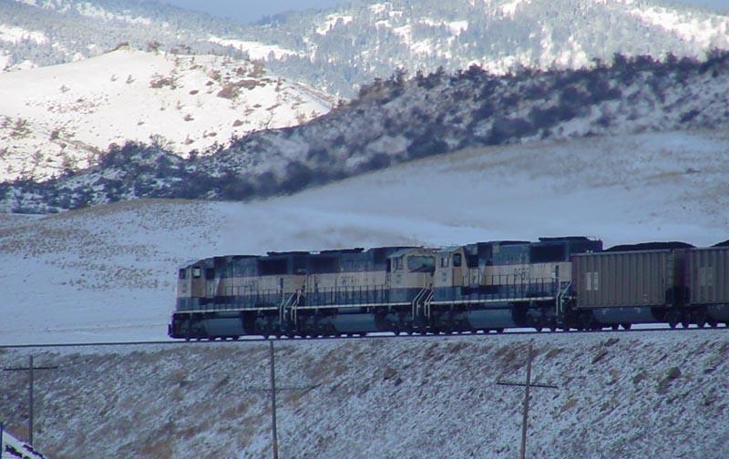 PGEX coal train headed up Bozeman Pass