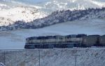 PGEX coal train headed up Bozeman Pass