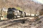 Westbound grain train through the curve