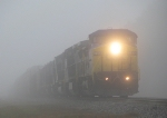 Northbound CSX waits at Martin Street for P098 in heavy fog