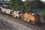 Eastbound grain train departs Northtown Yard