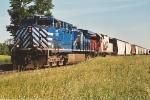 Westbound grain train approaches Foley Wye