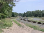 a northward look along the eastern side of the wye and a small yard of 3 tracks plus the main