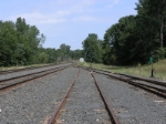 a look north from the innermost yard track.  I think the CN takes over just ahead?