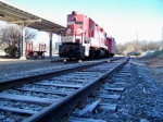 R.J. Corman donated Engine and Caboose sit at the platform next to frost covered tracks 12/29/2008