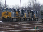 A side view of the locomotives behind CSX 882