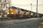 Southbound manifest moves cars in the yard