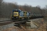 CSX 7553 crosses the Elkhart River