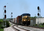 CSX 289 leads 39 cars on L326-29 past the signals and up the hill
